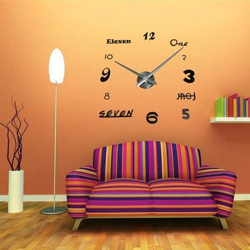 DIY 3D EVA Number English Letter Wall Clock Sticker Home Decor