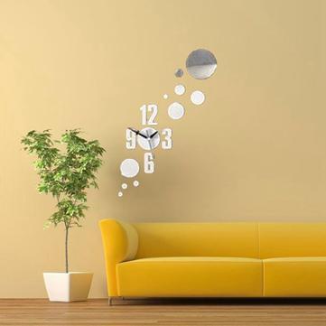 3D DIY Number Circle Mirror Wall Clock Stickers Modern Home Decor