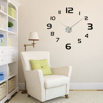 3D DIY Modern EVA Round Number Wall Clock Sticker Home Decoration