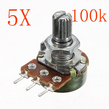 5pcs 200V 0.2W 100K Ohm Potentiometers Single Linear