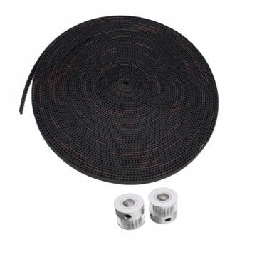 10M 2GT-6mm Rubber Opening Belt+2Pcs 2GT 16 Teeth Timing Pulley Wheel