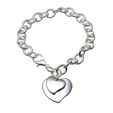925 Silver Plated Double Hearts Charm