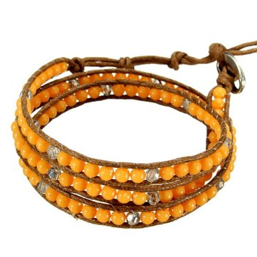 Multilayer Turquoise Stone Bead Leather Cord Wrap Braided Bracelet