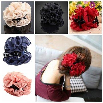 Korean Women Chiffon Rose Flower Bow Jaw Clip Barrette Hair Claw