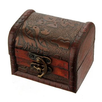 Vintage Antique Flower Printed Wooden Jewelry Storage Box Case