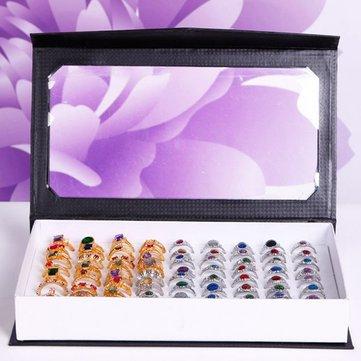 72 fentes anneaux boîte de titulaire vitrine de bijoux organisateur de spectacle de plateau