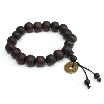 Vintage Unisex Black Buddhist Tibetan Prayer Wood Beads Coin Bracelet for Men