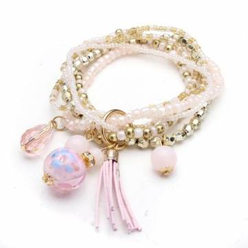 Multilayer Beads Tassel Charm Strand Stretch Bracelet For Women