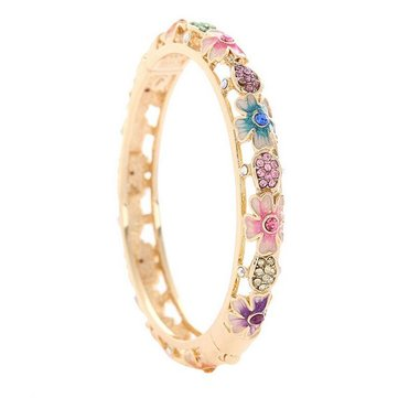 Cloisonné 18K Gold Plated Rhinestone Flower Enamel Bangle Bracelet