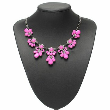 Crystal flower pendant statement necklace metal chain choker crystal flower pendant statement necklace metal chain choker necklace mightylinksfo