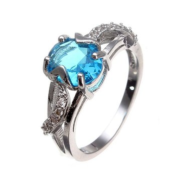 18K Platinum Plated Oval Zircon Leaf Finger Ring For Women