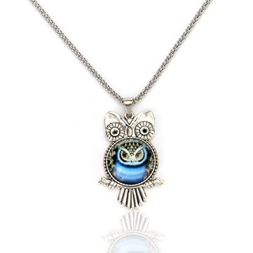 Vintage Glass Cabochon Owl Silver Chain Pendant Sweater Necklace