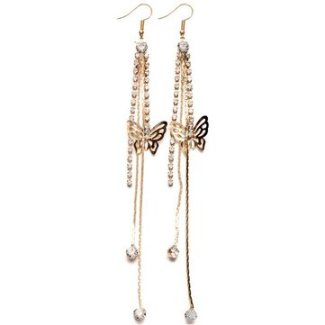 Rhinestone Butterfly Drop Long Tassels Chain Linear Earrings
