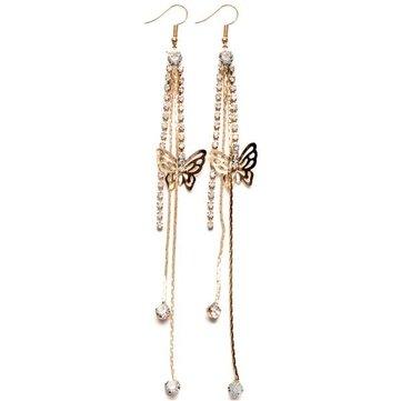 Rhinestone Butterfly Drop Long Tassels Chain Linear Earrings