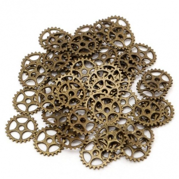 50pcs Vintage Steampunk Gear Necklace Pendant Charm DIY Jewelry Making