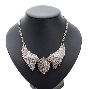 Vintage strass angelo ali Cuore ciondolo necklacee per le donne