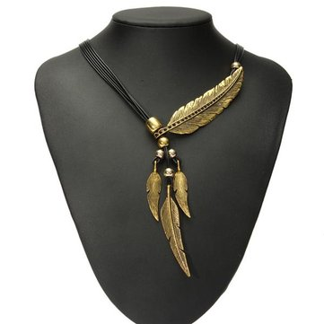 Vintage Multilayer Black Rope Feather Pendant Necklace For Women