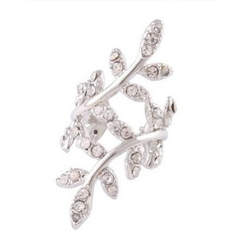 Punk Rhinestone Leaf Earring Clip Ear Cuff Silver Gold Plated