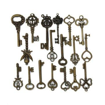 18pcs Retro Bronze Skeleton Crown Key Necklace Pendant Charm DIY