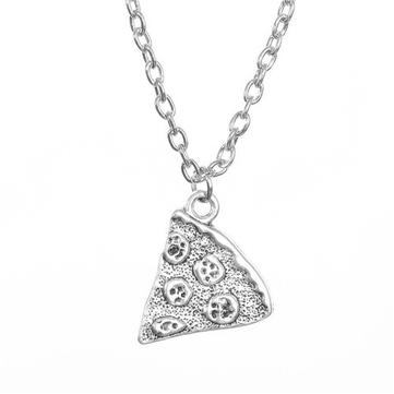 1pc Silver Pizza Pendant Best Friend Necklace