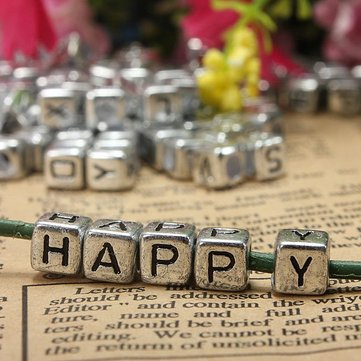 Creative 200pcs 6mm Silver Acrylic Letter Alphabet Beads DIY Craft Bracelet