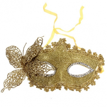 Venetian Gold Butterfly Sequins Eye Mask Prom Party Masquerade Mask