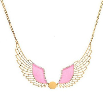 Vintage Pink Hollow Angel Wings Beads Pendant Choker Collar Necklace
