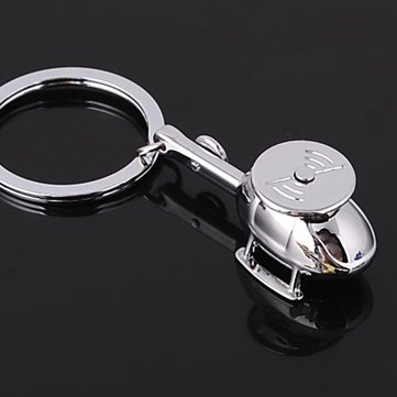 Silver 3D Helicopter Model Key Chain Copter Metal Key Ring Gift