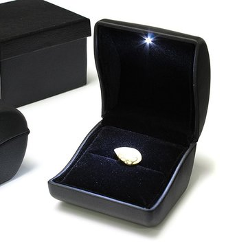 Luxury Black PU Leather LED Lighted Ring Box Jewelry Wedding Gift Case