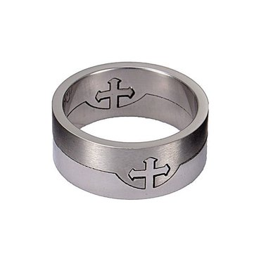 316L Stainless Steel Separate Silver Cross Finger Ring Men Jewelry