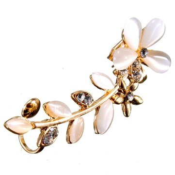1pc Gold Plated Opal Rhinestone Flower Leaf Ear Clip Cuff Earrings