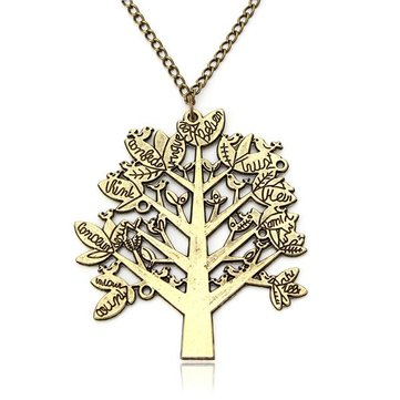 Vintage Birds Tree Letter Long Chain Pendant Sweater Necklace