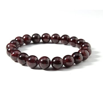 Dark Red Natural Stone Garnet Beads Elastic Bracelet Women Jewelry