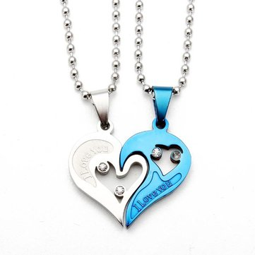1 Pair 316L Stainless Steel I Love You Matching Hearts Lover Necklaces