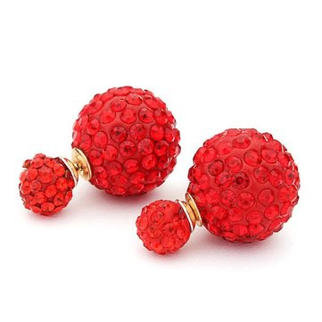 Full Rhinestone Crystal Double Balls Ear Stud Earrings For Women