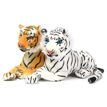 30cm blanco amarillo animal de tigre artificial suave tierno