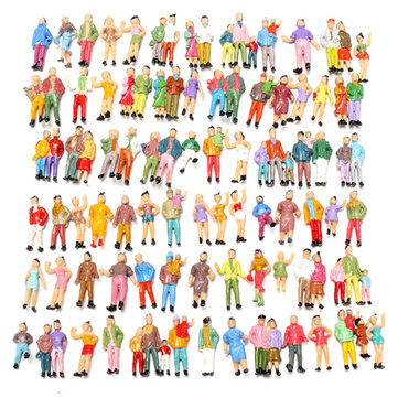 100pcs Mixed Painted Model Trains People Passengers Figures