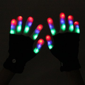 LED Lights Gloves With 6 Modes For Dance Rave Party Clubs Halloween