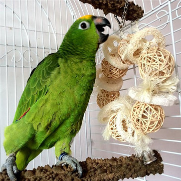 Loofahs Parrot Bird Wooden Chew Toy Parrot Bites Swing Cages Toys