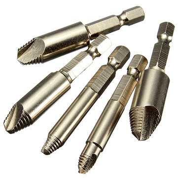 5PCS Screw Easy Speed Out Extractor Remover Hex shank Drill Set