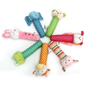 Animal Developmental Soft Stuffed Infant Baby Plush Hand Toys Rattles Kids Bell Cute Cartoon