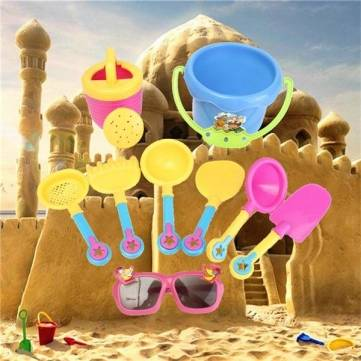9 Pcs Baby Kids Sand Castle Toys Shovel Summer Sunglasses Beach Outdoor Water Building DIY Buckets Seaside Pit