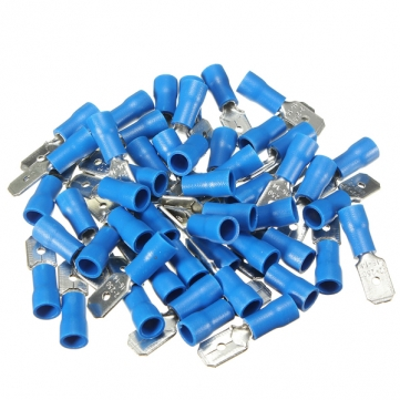 100pcs Male + Female Blue Semi Insulated Spade Crimp Connectors