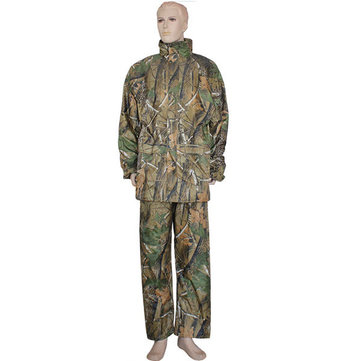 Camo Double-deck Fishing Coat Waterproof Suit Hooded Rain Coat
