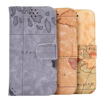 Map Pattern Soft PU Leather Wallet Flip-open Case For HTC ONE M9