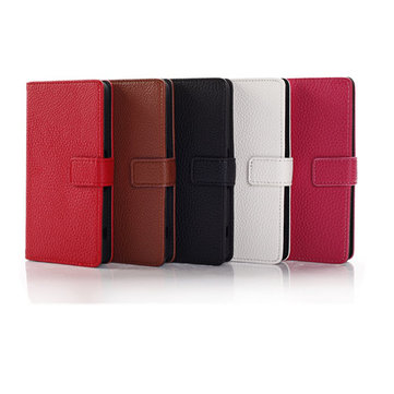 Fashion Magnetic Clasp Litchi Grain Leather Case For Sony Z1 Mini