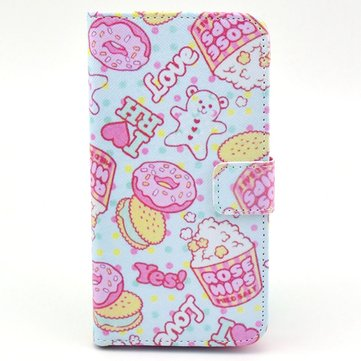 Little Bear Biscuit Leather Protective Case For Samsung S5 i9600