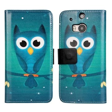 Owl Pattern Flip PU Leather Protective Case For HTC ONE M8