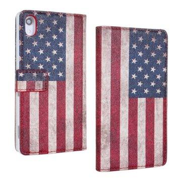 Custodia protettiva bandiera americana filp cuoio dell'unità di elaborazione per Sony Xperia z2