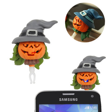 Halloween Pumpkin Flashlight Dustproof Plug for Mobile Phone